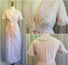 ILGWU Ladies Vintage Pink Broderie Anglais Bo Peep Long Edwardian Dress ... - $118.91