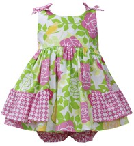 Bonnie Baby Baby Girl 3M-24M Pink Green Side Ruffle Bow Shoulder Rose Floral Pri