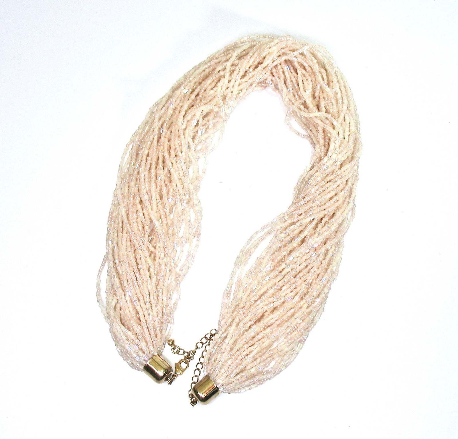 Crystal Seed Bead Necklace, Multiple Strands, AB Beads, Iridescent, Peach, Pink,