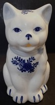 J S N Y CERAMIC WHITE CAT CREAMER W/BLUE FLORAL DESIGN - TAIWAN - $14.84