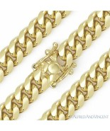 9.7mm Miami Cuban Curb Link Italy Sterling Silver 14k Yellow Gold Chain ... - $187.99