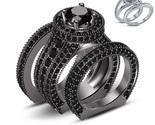Black Real Diamond 10k Gold Finish 925 Silver Engagement Ring Set & Free Gift - £195.67 GBP