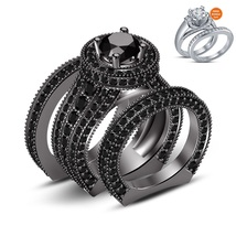 Black Real Diamond 10k Gold Finish 925 Silver Engagement Ring Set & Free Gift - £246.48 GBP
