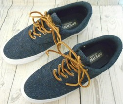Sperry Top Sider 10M Navy Blue Flecked Canvas Sneakers Leather Laces Mens Shoes - $24.68