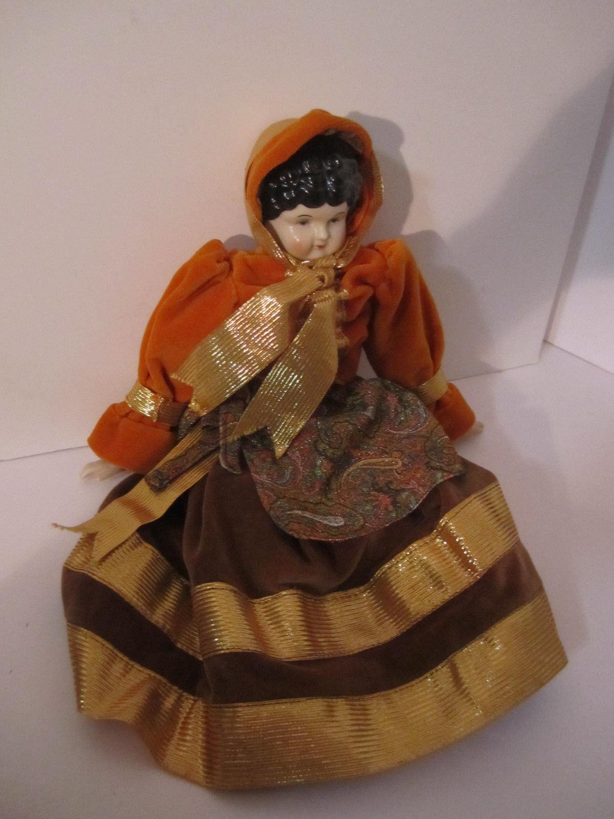 Elegant Repro Porcelain Brunette Doll Orange & Paisley Dress GORGEOUS!