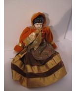 Elegant Repro Porcelain Brunette Doll Orange & Paisley Dress GORGEOUS! - $27.00