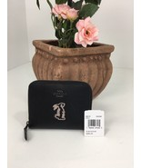 New Coach Wallet Small Selena Bunny Black Calf Leather Zip Around 39319 B2Z - $78.36
