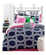 Kate Spade New York Bow Tile Navy and White Cotton Duvet Cover Set Full/... - $140.00