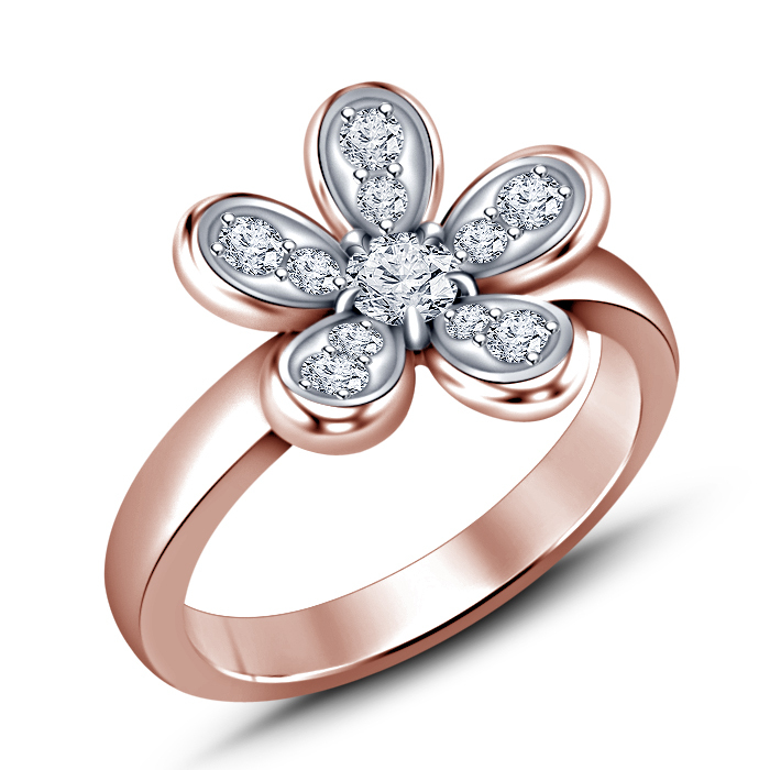 Round Cut White CZ Women's Flower Ring 925 Sterling Silver 14k Rose Gold Plated