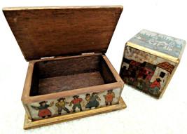 Business Card Holder Box + Matching Paperweight Wood Desk Set Native Fol... - $24.99