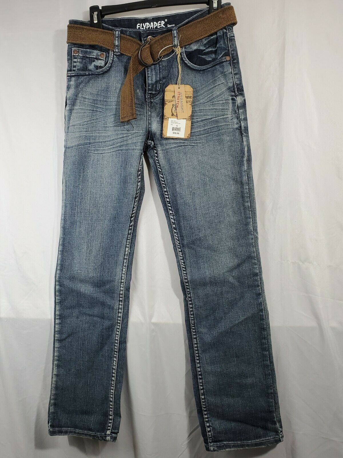 Primary image for NWT Flypaper Boys 16 med Wash straight stretch Adjustable Waist Jeans w belt (8)