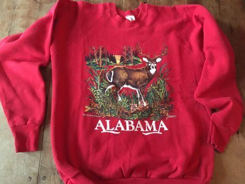 Vintage Alabama Tourist Sweatshirt Hunting Deer Hunter XL Made In USA 1989