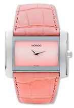 BRAND NEW MOVADO 0605296 ELIRO PINK ALLIGATOR STRAP SILVER CASE WOMEN'S ... - $296.99