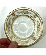 """2 Wedgwood Etruria Hand Painted Gold Floral 4.5"""" Plate Saucer Burley Co ... - $9.99"""