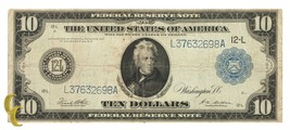 Series 1914 $10 Federal Reserve Note Large Size (Very Fine, VF Condition) - $118.79