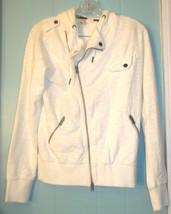 Size Jrs M - Element Ivory White Hooded Zip Up Jacket Top w/Zipper Pockets - $23.74