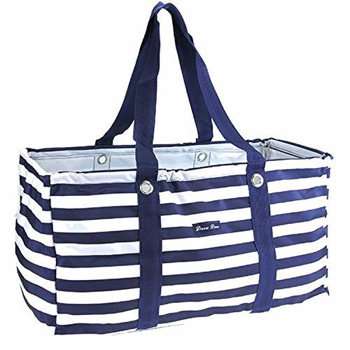 "Large 22"" Utility Market Tote Bag Trunk Organizer Striped Print Navy Blue"