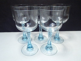 "5 Cristal D'Arques-Durand  Wine Glasses 6.5"" - Azure Light Blue Spike Stem - $24.95"