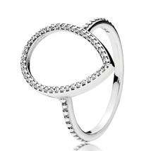 925 Sterling Silver Teardrop Silhouette with Clear Zirconia Ring  QJCB1333 - $23.66
