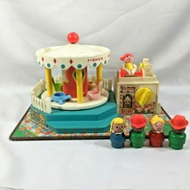 Vintage Fisher Price Little People Merry Go Round With 4 Kids  WORKS 1972 - $70.47