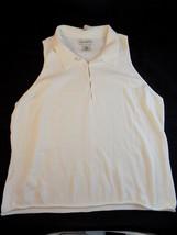 Womens Sleeveless White Cotton Shirt V Neck Size L Banana Republic Top - $11.87