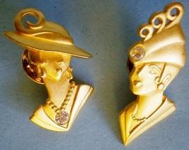 Art Deco Ladies with Rhinestones Lapel Pins signed JJ, vintage - $15.00
