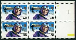 1991 50c Harriet Quimby Plate Block of 4 US Postage Stamps Catalog C128 MNH