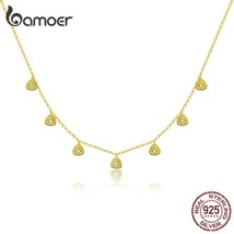 bamoer Gold Color Silver 925 Jewelry New Fashion Triangle Necklae Stud Earringd  - $58.99