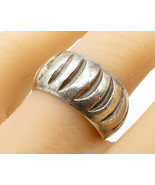 925 Sterling Silver - Vintage Crescent Moon Pattern Band Ring Sz 9.5 - R... - $40.79