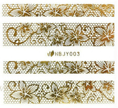 Nail Art 3D Decal Stickers Golden Flowers Lines Web HBJY003 - $3.29