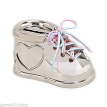 Piggy Bank Bootie w/ Pink & Blue Laces, Non Tarnish Silver Color in Gift... - $19.79