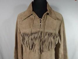 Handmade Fringed Suede Medium Light Brown Leather Jacket Hippie Biker Vt... - $98.99