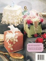 6 Pineapple Lace Roses Thread Crochet Tissue Covers Cream Sugar Patterns - $13.99