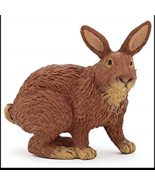 RABBIT BROWN TAN FIGURINE SITTING PET PAPO TOY NEW - $4.90