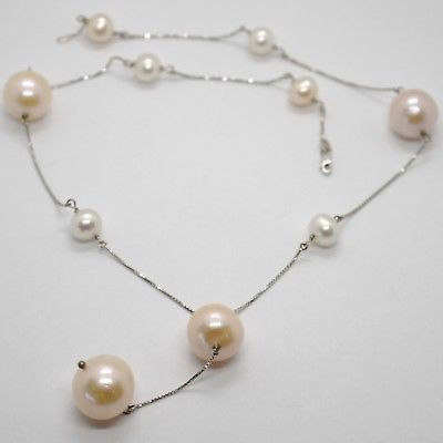 18K WHITE GOLD LARIAT NECKLACE, VENETIAN CHAIN WHITE & PEACH BIG PEARLS 16 MM