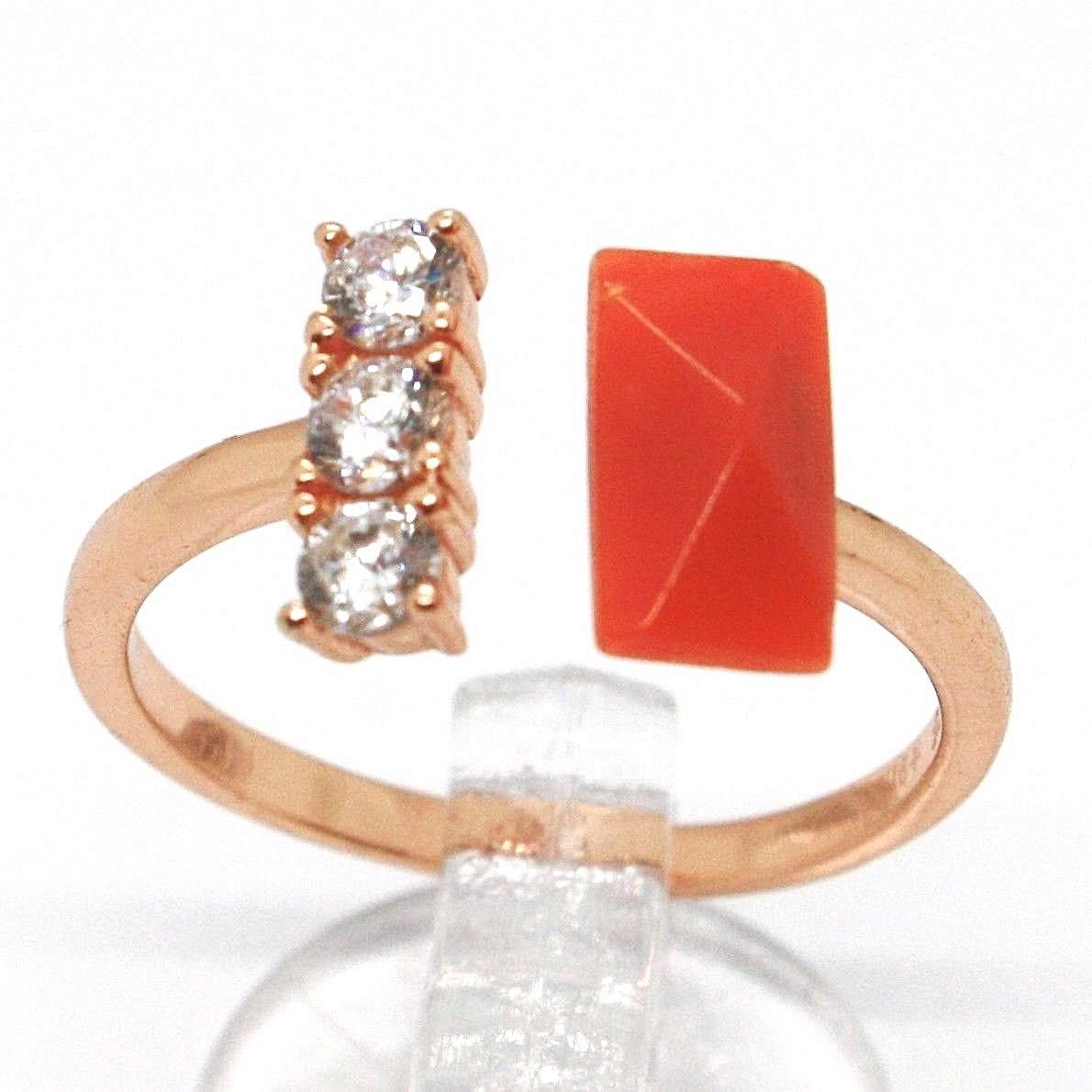 925 Silver Ring, Pink, Trilogy, Coral Red Rectangular Made in Italy