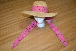 Vintage Disney Characters Sun Straw Brim Hat Adult Minnie Mouse Made in the USA - $9.49