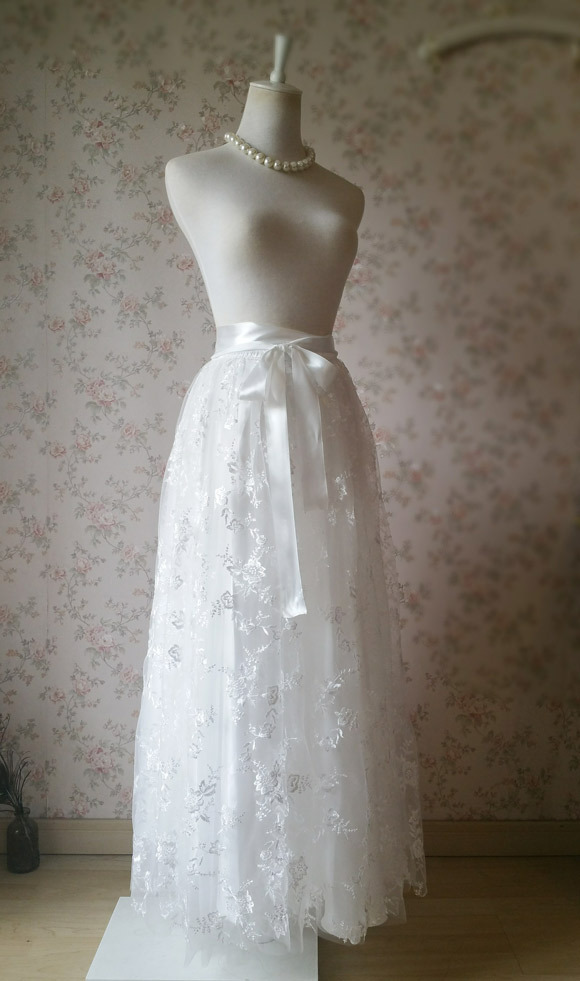 Embroidery White Lace Tulle Maxi Skirt Alternative Wedding Party Bridal Skirts