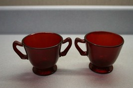 Ruby Red Depression Glass Sugar Bowl and Coffee Cup Replacement Pieces - $12.86