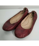 LL Bean Brazil Red Tooled Leather Ballet Flats Shoes Sz 7.5 M Women's - $29.99