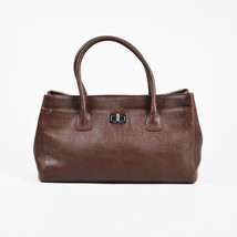 "Chanel Brown Leather Mademoiselle Turnlock ""Reissue Cerf"" Tote Bag - $1,610.00"