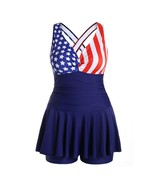 Women Patriotic American Flag Print Plus Size Two Piece Ruched Tankini S... - $22.99