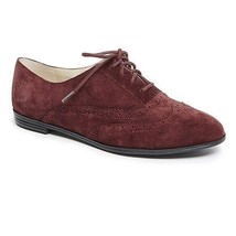Isaac Mizrahi 'Fiona' Dark Red/Wine Suede Lace Up Wingtip Oxford Flats 6.5M - $34.64
