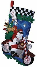 DIY Bucilla Cruising Santa Motorcycle Biker Christmas Felt Stocking Kit 86016 - $92.95
