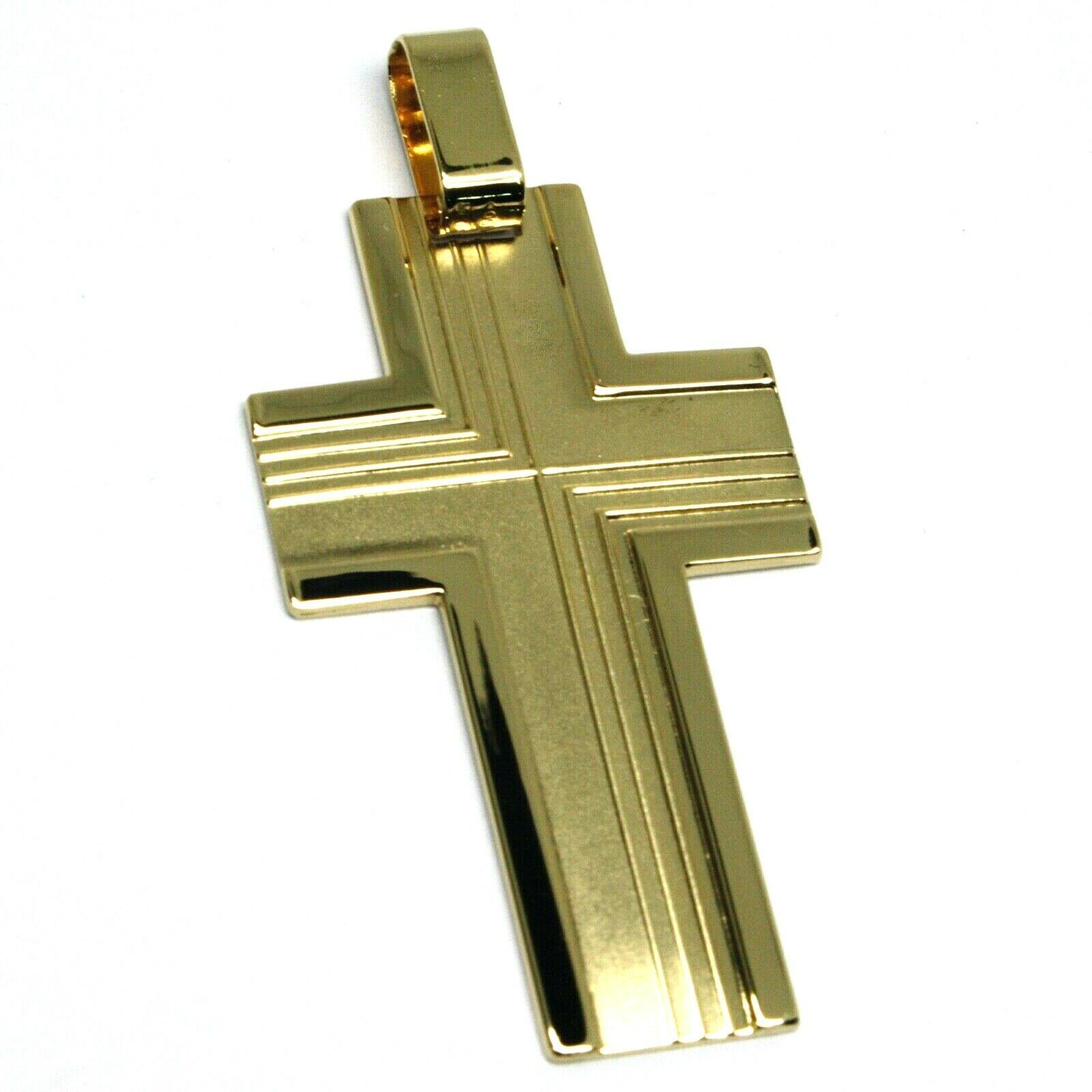 SOLID 18K YELLOW GOLD BIG 42mm FLAT CROSS, WORKED SATIN & SMOOTH MADE IN ITALY