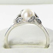 Pandora 190967P Luminous Leaves Pearl Ring Sz 7.5 56 Cubic Zirconia 925 ... - $67.89
