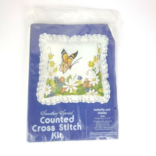 Vintage Something Special Cross Stitch Kit Butterfly Daisies Nature Scene 50009 - $12.08