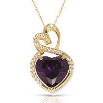 4.20 Carat Halo Amethyst Double Heart Gemstone Pendant & Necklace14K Yel... - $173.25