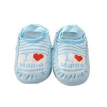 Baby Toddler Non-Slip Indoor Slipper Floor Socks Winter Warm Socks, 1 Pair (Blue