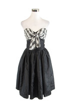Black white gingham top strapless vintage A-line dress XS - $50.00